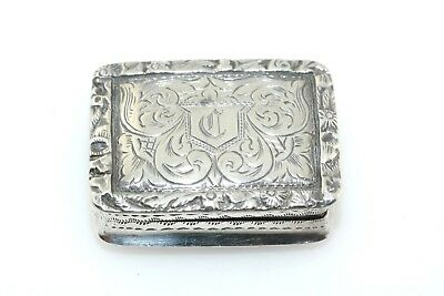 Georgian Antique English Sterling Silver Vinaigrette Box Nathaniel Mills c 1844