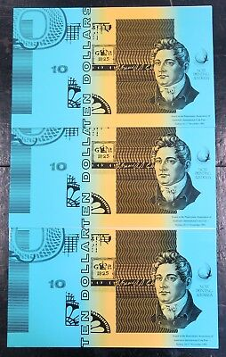 3x Australia 1991 Fraser/Cole Uncut Block of Four $10 Consecutive Note Folders