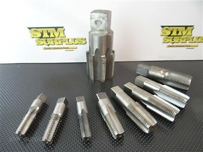 """Lot Of 9 Assorted Hss Taps 1/4""""-18Npt To 1-1/2""""-11-1/2Npt R&n Cle Bendix"""