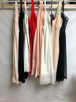 Vintage LINGERIE LOT of 9~SLIPS Nightgown~ NYLON All with crystal pleats