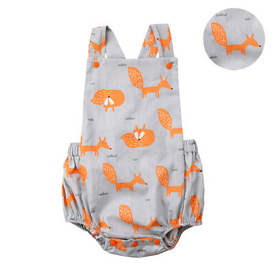 Newborn Infant Baby Girl Boy Fox Romper Bodysuit Jumpsuit Outfit Sunsuit Clothes