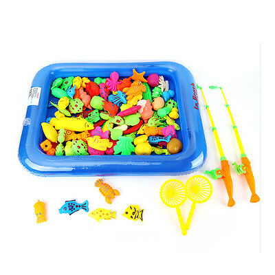 20PCS Magnetic Fishing Toy Rod Model Net Fish Kid Baby Bath Time Fun Game AU
