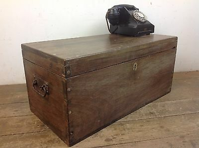 Antique Carpenters Mahogany Wooden Chest Drawer Metal Handle toy Storage Box Old