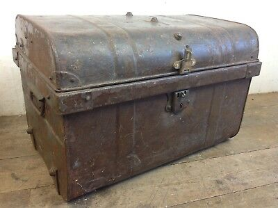Vintage riveted steel storage trunk chest box treasure toy old
