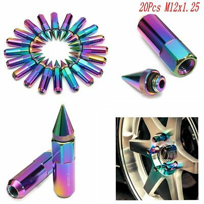 20pcs Spiked M12X1.25 Wheels/Rims Lug Nuts Extended Tuner Aluminum Neo Chrome
