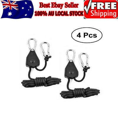 "AU 4 pcs 1/8"" Heavy Duty LED Grow Light Hanger YOYO Rope Ratchet For Hydroponic"