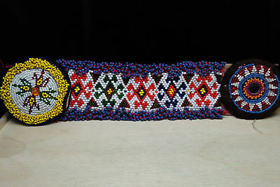 "12"" Well-Traveled Beaded Tribal Patch Vintage Ethnic Textile"