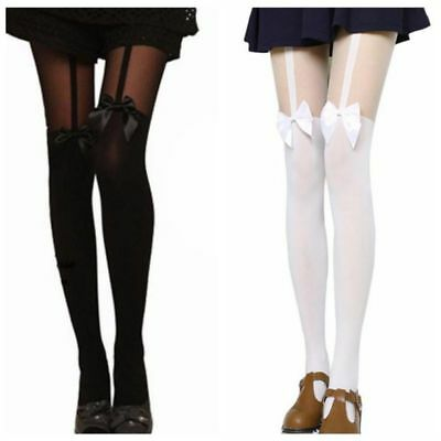Women Mock Suspender Tights Sexy Long Stockings Bowknot Over The Knee Pantyhose