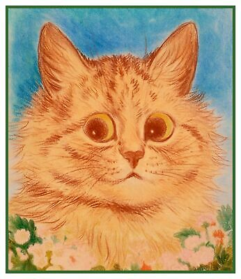 Louis Wain/'s White Kitty Cat With Pink Flower Counted Cross Stitch Chart Pattern