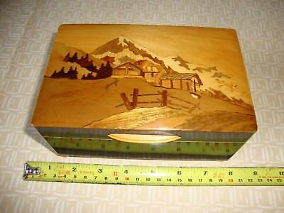 Timber Marquetry,Clockwork,Musical,Box,Measuring,Approx, 7 x 4.5 x 3 Inches.