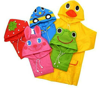 FAD Cartoon Baby Kids Toddler Boy Girl Hooded Rain Coat Raincoat Jacket HC