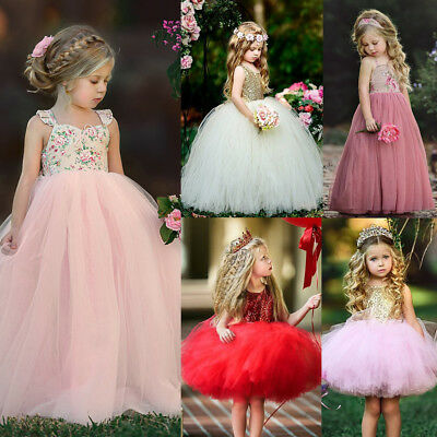 US Girls Skater Dress Kids Lace Floral Party Dresses Summer Sundress Clothing