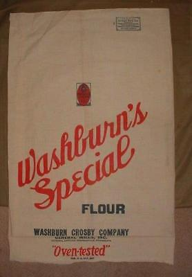 Vintage Washburn Crosby Flour General Mills Cloth Chase Grain Bag Feed Sack