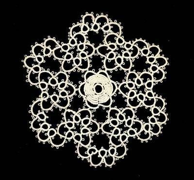 Vintage cute fine tatted ecru lace round doily measuring 17cm
