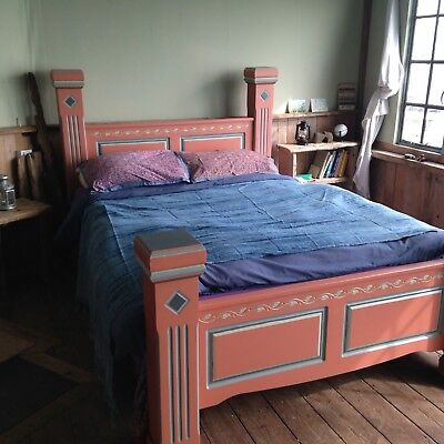 Bohemian Hand Painted Bloomsbury style Double Bed. Brand new steel framed base.