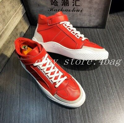 Men's Casual Lace Up Board Shoes Canvas Trainers High Top Sports Round Toe New