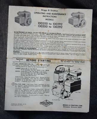 76 Briggs Stratton Operating Maintenance Instructions 100200-100292 130200-13029