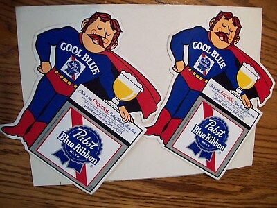 2 Vintage  Pabst Blue Ribbon Cool Blue Man Decal! Pbr Sticker,new Old Stock