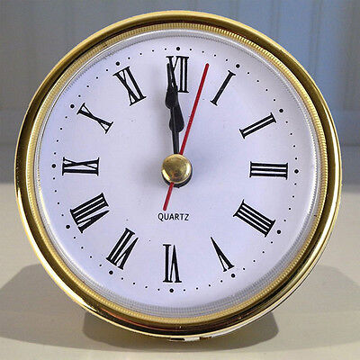 "2-1/2"" (65mm) QUARTZ CLOCK FIT-UP/Insert Gold Trim Roman Numeral Home Gift P6Z8"