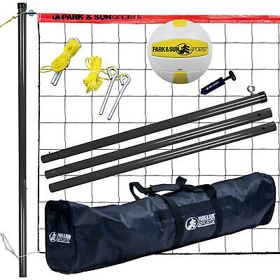 Park & Sun Volley Sport Portable Outdoor Steel Volleyball Net Set with Bag, Red
