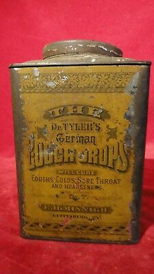 Rare Antique 1879 Cough Drop Tin With Gettysburg Pa Connection- Tyler's