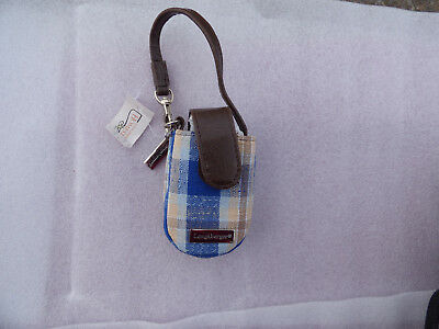 Longaberger Blue Plaid Cell Phone Wristlet/ Carry Case Free Shipping