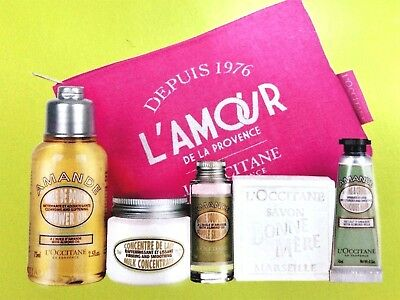 Loccitane Almond Set: Shower Oil, Skin Oil, Milk Soap, Hand Cream, Concentrate