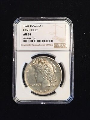 1921-P United States High Relief Peace Dollar NGC AU 58 Rare Key Date!