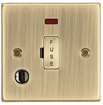Antique Brass Rounded Edge 13A Fused Spur Unit with Neon & Flex Outlet