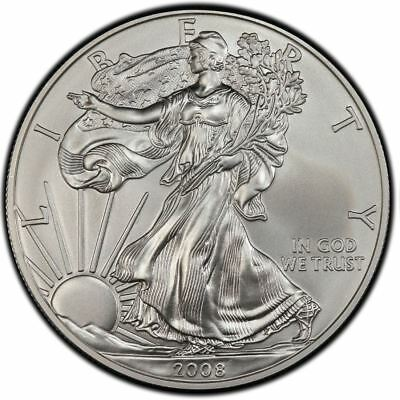 2008 American Silver Eagle 1 oz Silver Coin Direct From Mint Tube