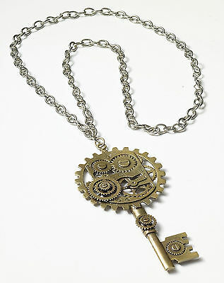 Steampunk Skeleton Key Gear Necklace Neo Victorian Costume Accessory