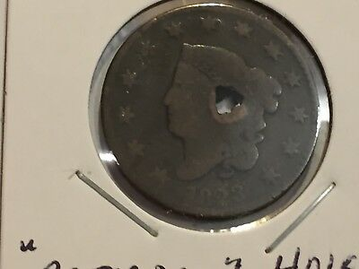 1823 Coronet Head Large Cent w/ HOLE BETTER DATE 1823 LG. 1c HOLED NR!!! + FS!!!