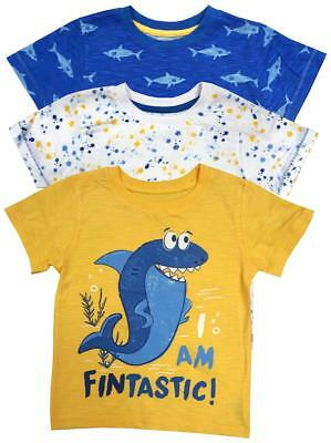 Boys T-Shirts PACK OF 3 Baby Toddler Fintastic Shark Print 6 Months to 4 Years