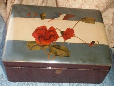 Old Vintage Antique Japanese Lacquer Wooden Decorated Jewel Trinket Sewing Box