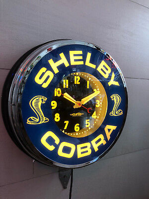 """22"""" Ford Shelby Cobra, neon clock By Curtis"""