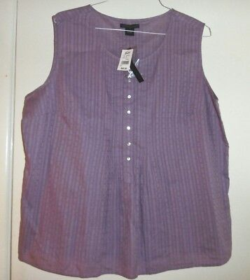 NEW Size 2X 3X PURPLE WOMENS SLEEVELESS PLUS SIZE BLOUSE TOP $46 TAGS!