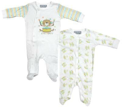 1ae3f85f01a0 BOYS BABY PACK OF 2 Little Monkey Sleepsuit Rompers Newborn to 9 ...