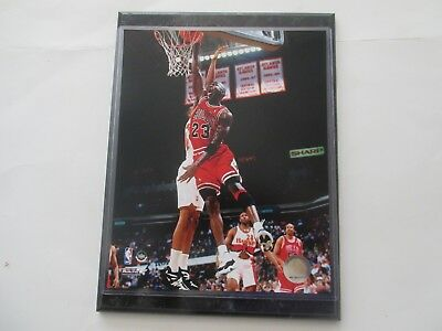 Michael Jordan Chicago Bulls  Dunk Photo With Tongue Out On A 9X12 Marble Plaque