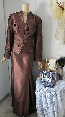 Mother Of The Bride Dress/Jacket Set by Knox-Size 2XL Bronze with Black Burnout
