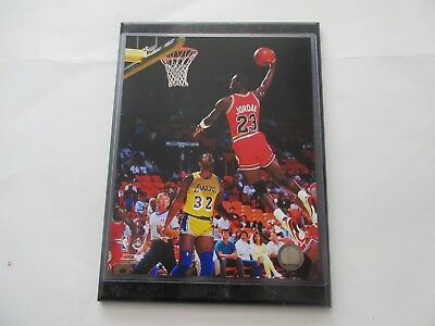 Michael Jordan Chicago Bulls Slam Dunk Photo Over Magic Mounted On A Plaque