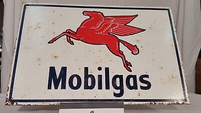 Tin Painted Sign Mobilgas Pegasus Red Horse Gas Station Gasoline Sign Well Worn