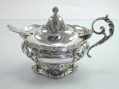 Antique Edwardian .925 sterling silver mustard pot & spoon Chester 1908