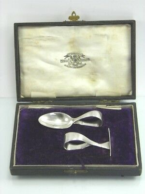 Vintage P Orr & Sons Madras & Rangoon Indian silver babies spoon & pusher set