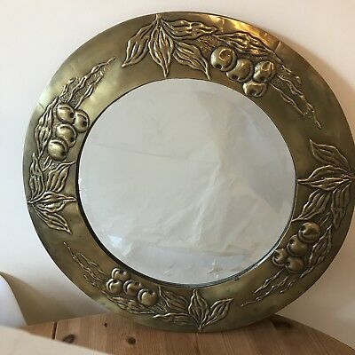 Round Brass Art Nouveau Mirror Edged with Fruits and Leaves