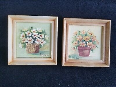 Set of 2 Yellow Daisies FRAMED Art ORIG hand painted chic shabby vintage cottage