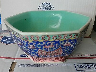 19th C. Chinese Famille rose FLOWERS Phoenix Porcelain Bowl 6 SIDES MARKED OLD