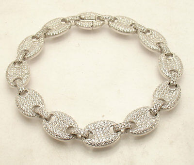 "9"" ICED OUT Mariner Gucci Link Chain Bracelet Real Solid AntiTarnish 925 Silver"