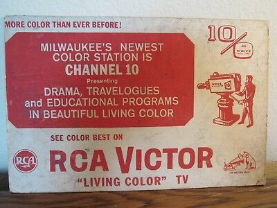 Old 1958 Rca Victor Color Tv Wmvs Milwaukee Advertising Easel