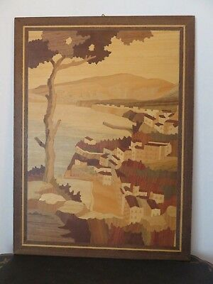 """Vintage Italian Sorrento Inlaid Wood Plaque Wall Art Made in Italy 15.5 x 11.5"""""""