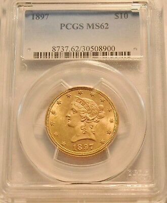 1897 $10 PCGS MS 62 Gold Liberty Eagle, Uncirculated Ten Dollar Coin, Nice look
